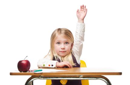 school girl at desk